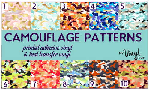 Printed HTV CAMOUFLAGE Patterned Heat Transfer Vinyl 12 x 12