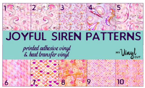 Printed HTV JOYFUL SIREN Patterned Heat Transfer Vinyl 12 x 12