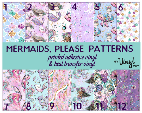 Printed HTV MERMAIDS, PLEASE Patterned Heat Transfer Vinyl 12 x 12