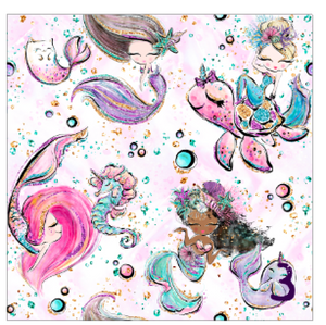 "Printed Adhesive Vinyl MERMAIDS, PLEASE Patterned Vinyl 12 x 12"" sheet"