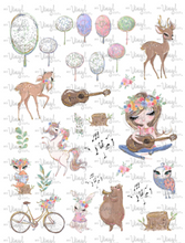 Load image into Gallery viewer, Waterslide Sheet of Decals brown hair BOHO SPRING Theme