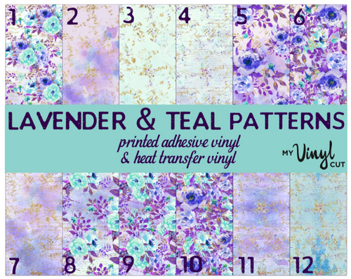 Printed HTV LAVENDER & TEAL FLOWERS Patterned Heat Transfer Vinyl 12 x 12