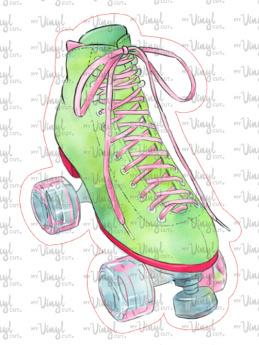 Mini Sticker Lime Green and Pink Roller Skate