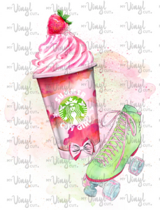 Waterslide Decal Pink Frozen Frappe Drink with Roller Skate