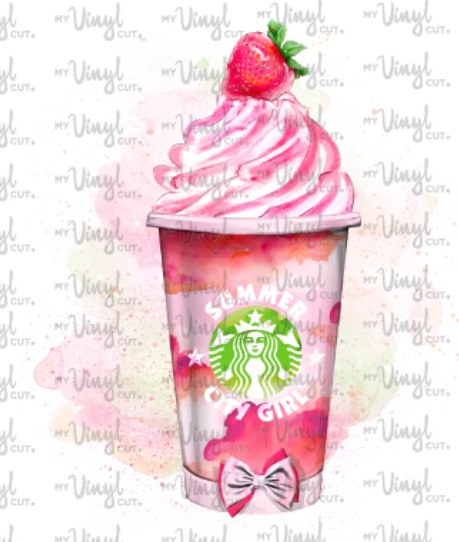Waterslide Decal Pink Frozen Frappe Drink with Whipped Cream
