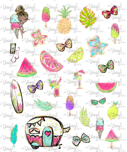 Waterslide Sheet of Decals BEACH, PLEASE Ice Cream Theme