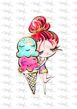Load image into Gallery viewer, Waterslide Sheet of Decals clear or white film, inkjet or laser printed BEACH, PLEASE Ice Cream Theme