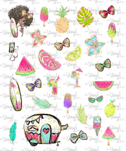 Load image into Gallery viewer, Waterslide Sheet of Decals BEACH, PLEASE Surfboard Theme