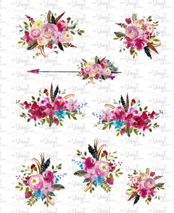 Waterslide Sheet of Decals clear or white film, inkjet or laser printed HOT PINK FLOWERS