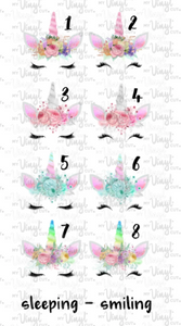 Waterslide Decal Spring Unicorn Faces 8 to choose from PICK ONE