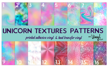 "Load image into Gallery viewer, Printed Adhesive Vinyl UNICORN TEXTURES Patterned Vinyl 12 x 12"" sheet"