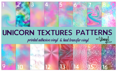 Printed HTV UNICORN TEXTURES Patterned Vinyl 12 x 12