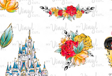 Load image into Gallery viewer, Waterslide Sheet of Decals clear or white film, inkjet or laser printed MOUSE UPON A TIME minnie/castle Theme