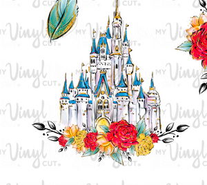 Waterslide Sheet of Decals clear or white film, inkjet or laser printed MOUSE UPON A TIME minnie/castle Theme