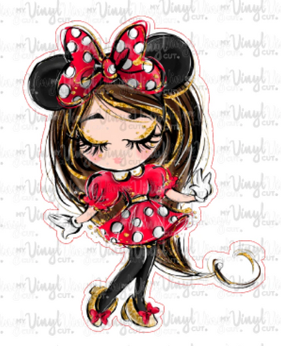 Sticker Girl with Mouse Ears Red Dress White Polka Dots Eyes Closed