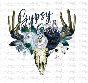Sticker Gypsy Soul Boho Deer Skull with Navy Blue Flowers
