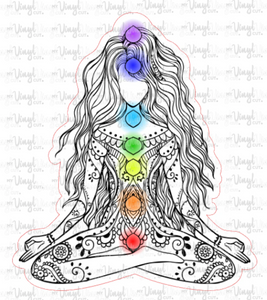 Sticker G12 Yoga Pose Chakras