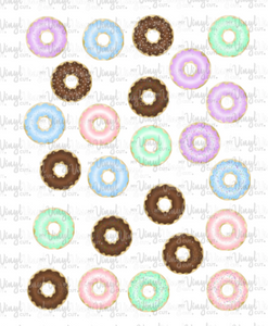Waterslide Sheet of Decals clear or white film, inkjet or laser printed DONUTS Theme