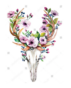 HTV Transfer Bohemian Deer Skull with Flowers