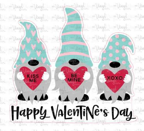 HTV Transfer 3 Gnomes holding hearts Valentine's Day