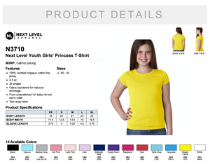 Next Level Youth Girls' Princess T Shirt