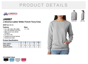J America Ladies' Glitter French Terry Crew