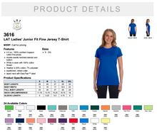 Load image into Gallery viewer, LAT Ladies' Junior Fit Fine Jersey T Shirt