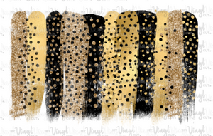 Waterslide Decal Gold and Black Glitter Cheetah Brush Strokes