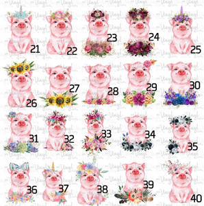Waterslide Decal Piggy, INKJET Pick one image, order 1, 3 or a full sheet of the same image