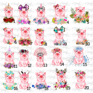 Waterslide Decal Piggy, LASER Pick one image, order a full sheet of the same image