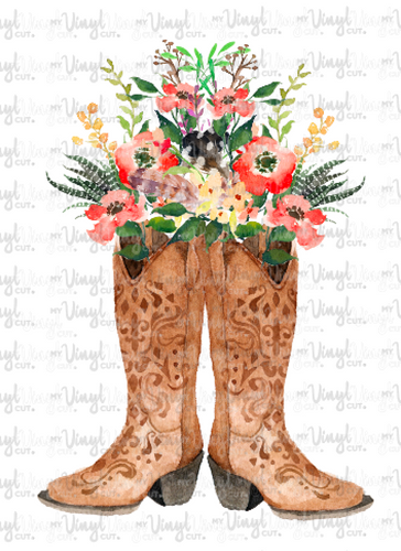 Waterslide Decal Cowboy Boots with Flowers