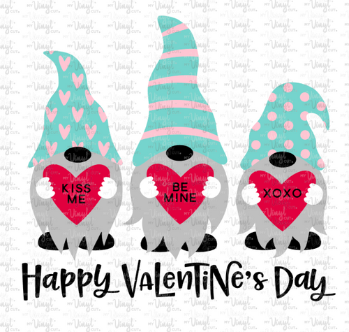 Waterslide Decal 3 Teal Gnomes holding hearts Valentine's day