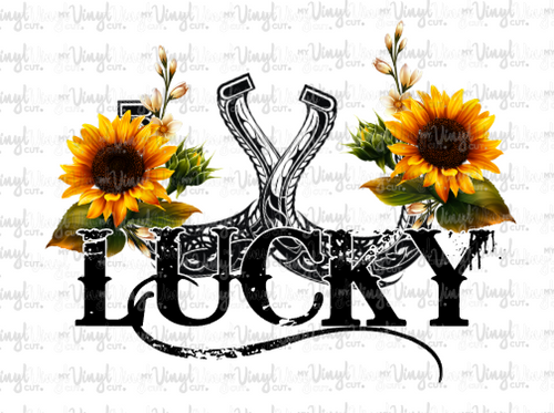 Waterslide Decal Lucky Horseshoes with Sunflowers