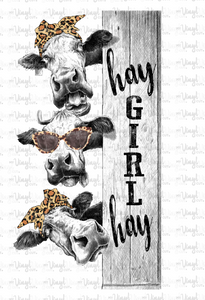 Waterslide Decal A9 Hay Girl Hay Cows on a board