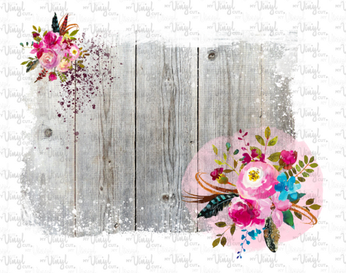 Waterslide Decal Distressed Gray Wood Backgrounds with flowers