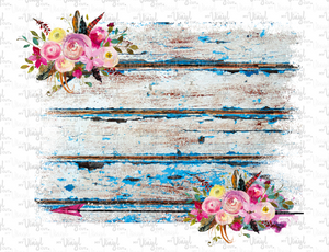 Waterslide Decal Distressed Blue Wood Backgrounds with Flowers