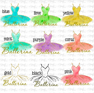 Waterslide Decal Ballerina Tutu Choose your color