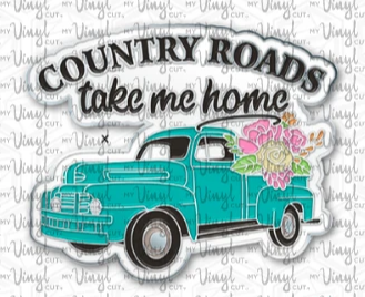 Enamel Pin Country Roads Take Me Home Choose Pin or Magnetic clasp