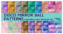 Load image into Gallery viewer, Printed HTV DISCO MIRROR BALL Pattern 12 x 12 inch sheets
