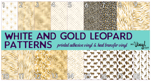 Printed Adhesive Vinyl White and Gold Animal Prints
