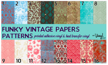 Load image into Gallery viewer, Printed HTV FUNKY VINTAGE PAPERS Patterns 12 x 12 inch sheet