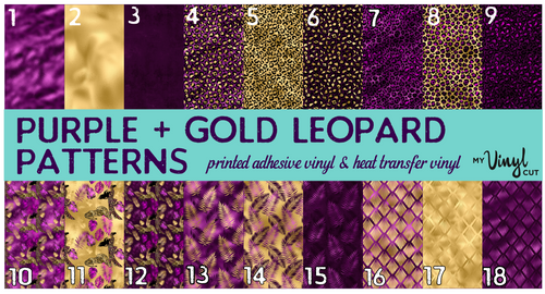 Printed Adhesive Vinyl PURPLE + GOLD Leopard Patterns