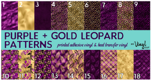 Printed Heat Transfer Vinyl HTV PURPLE + GOLD LEOPARD 12 x 12 inch sheet