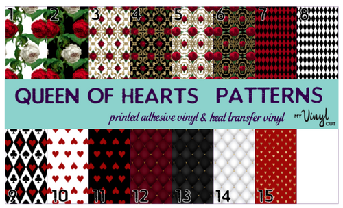 Printed Adhesive Vinyl QUEEN OF HEARTS Patterned Vinyl 12 x 12