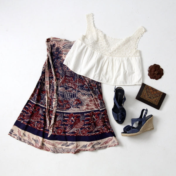 vintage boho outfit with wrap skirt and antique camisole