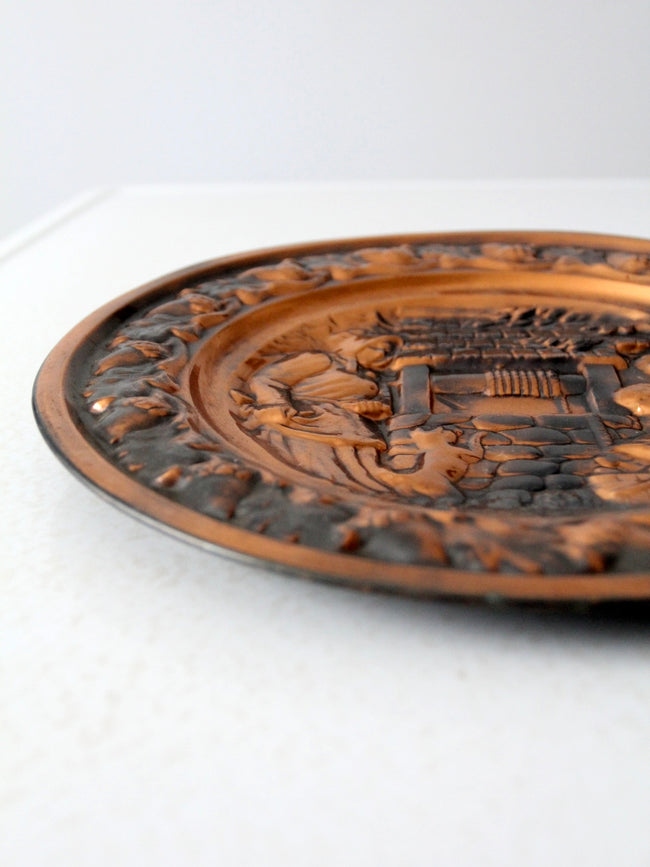 vintage copper raised relief plate