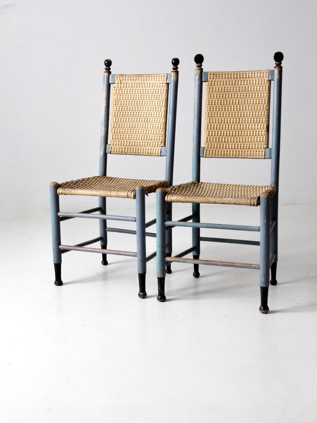 antique caned chairs pair