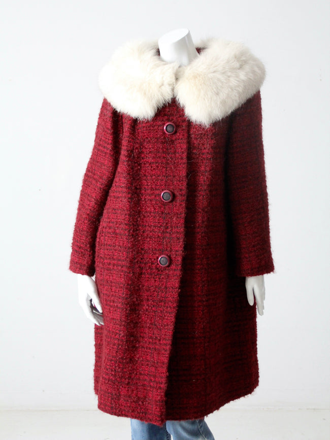 vintage 60s swing coat with fur collar