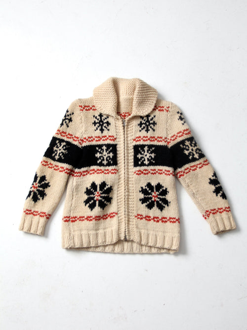 vintage cowichan snowflake camp sweater