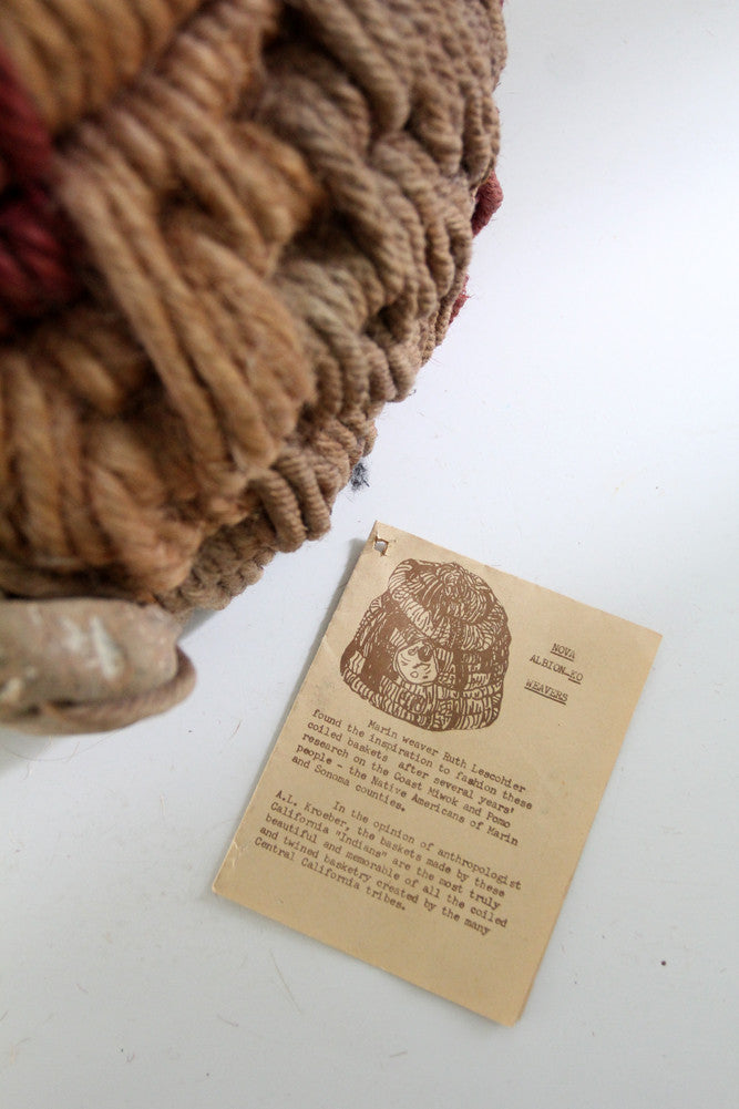 vintage coiled rope basket by Ruth Lescohier